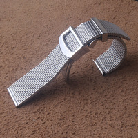 20mm 22mm Stainless Steel Milanese Shark Mesh Watch Band Strap Silver Bracelet Folding buckle fashion for luxury wristbands new