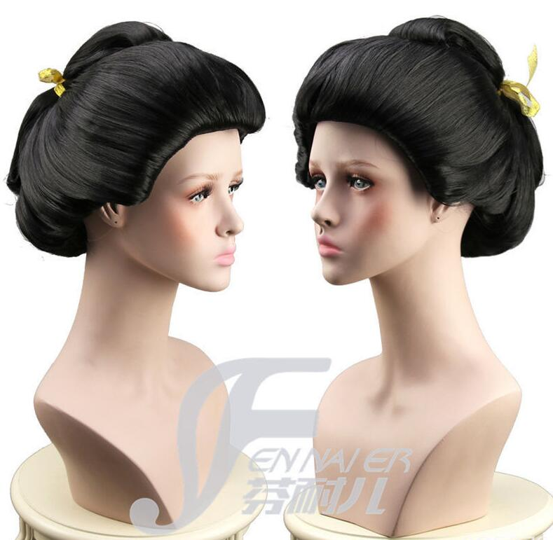 5d1622d98 free shipping Hot Sell Cosplay women's New Black Geisha Wig Full Wigs Plate  Hair Anime Wig