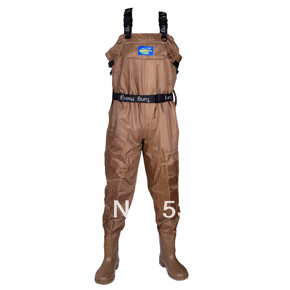 Size 42 NEW Unisex Fishing Pants Breathable Chest Waders - Stocking Foot Brown  Cloth