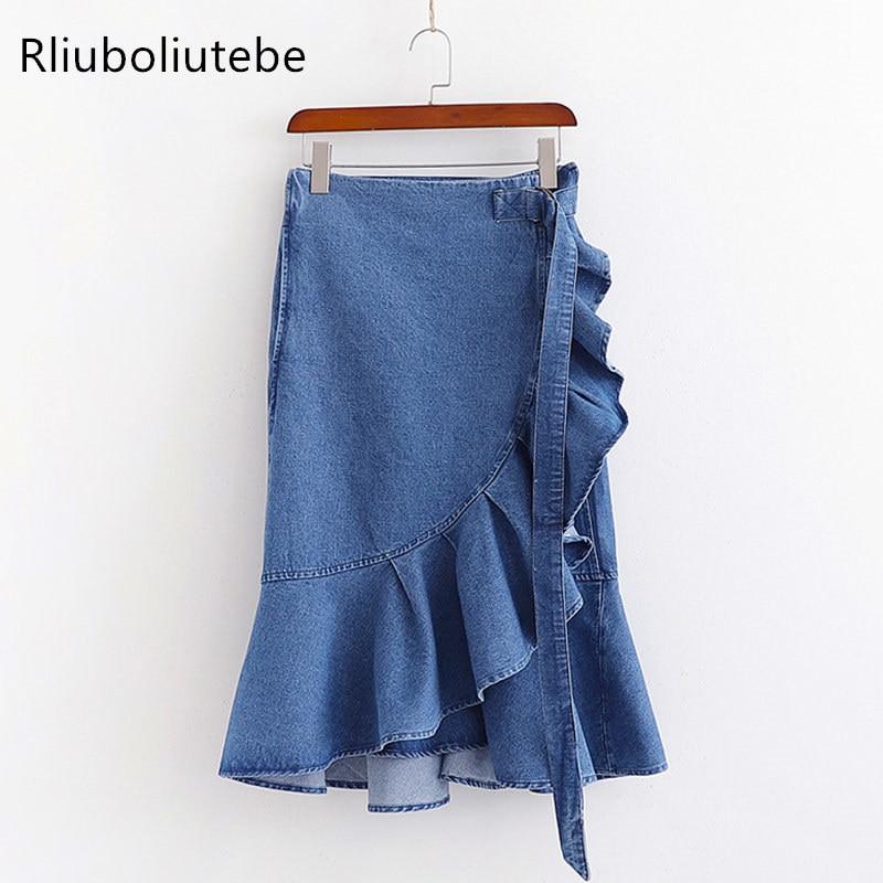 summer ruffled asymmetrical denim skirt solid high waist jeans skirts midi sexy vintage casual blue colour streetwear