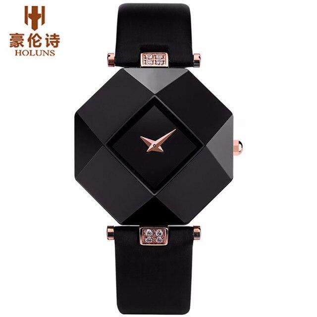 HOLUNS Brand Luxury Leather Watches Women Creative Ceramic Diamond Dial Fashion