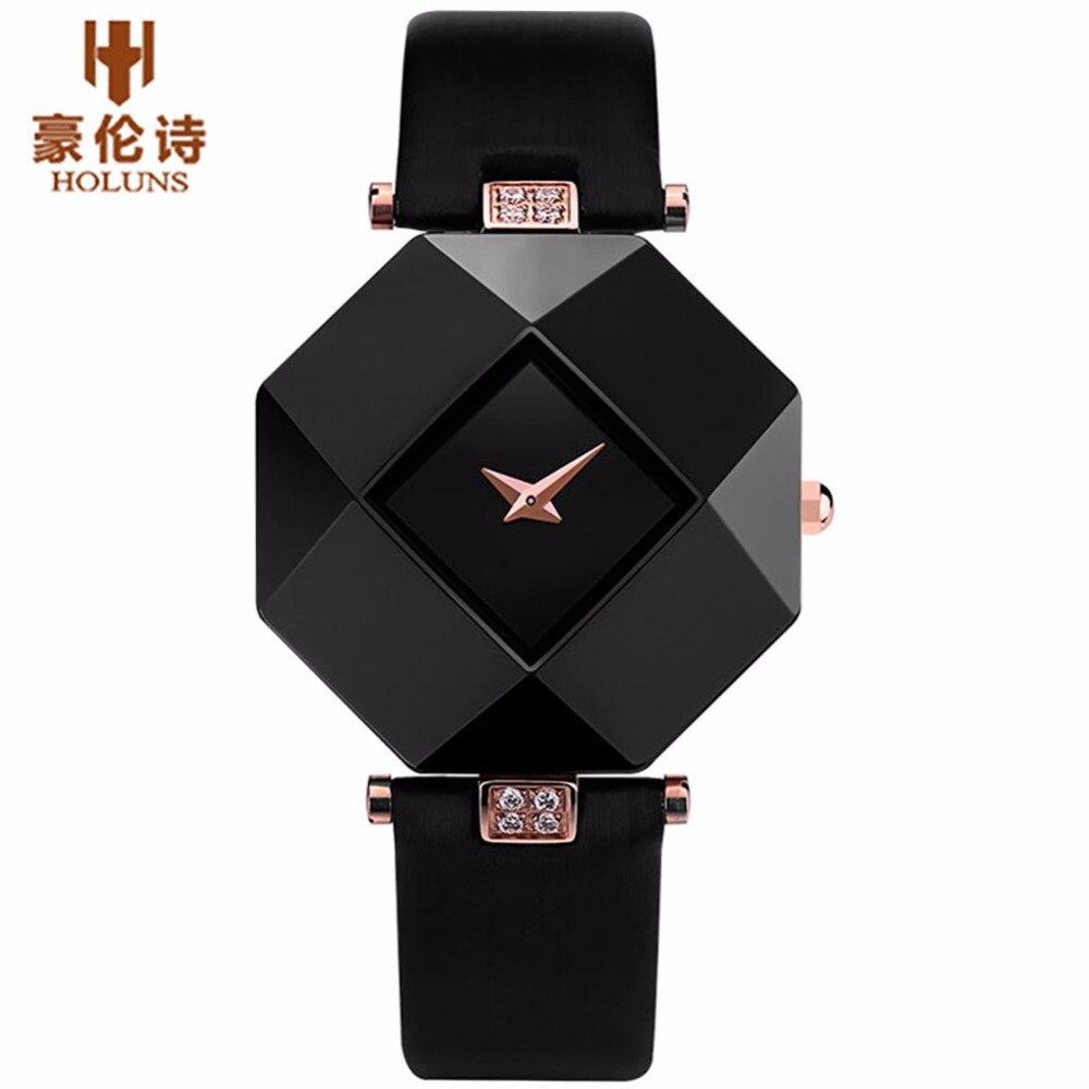 HOLUNS Marke Luxus Leder Uhren Frauen Kreative Keramik Diamant Zifferblatt Mode Lässig Aus Echtem Elegante Damen Quarz Armbanduhr