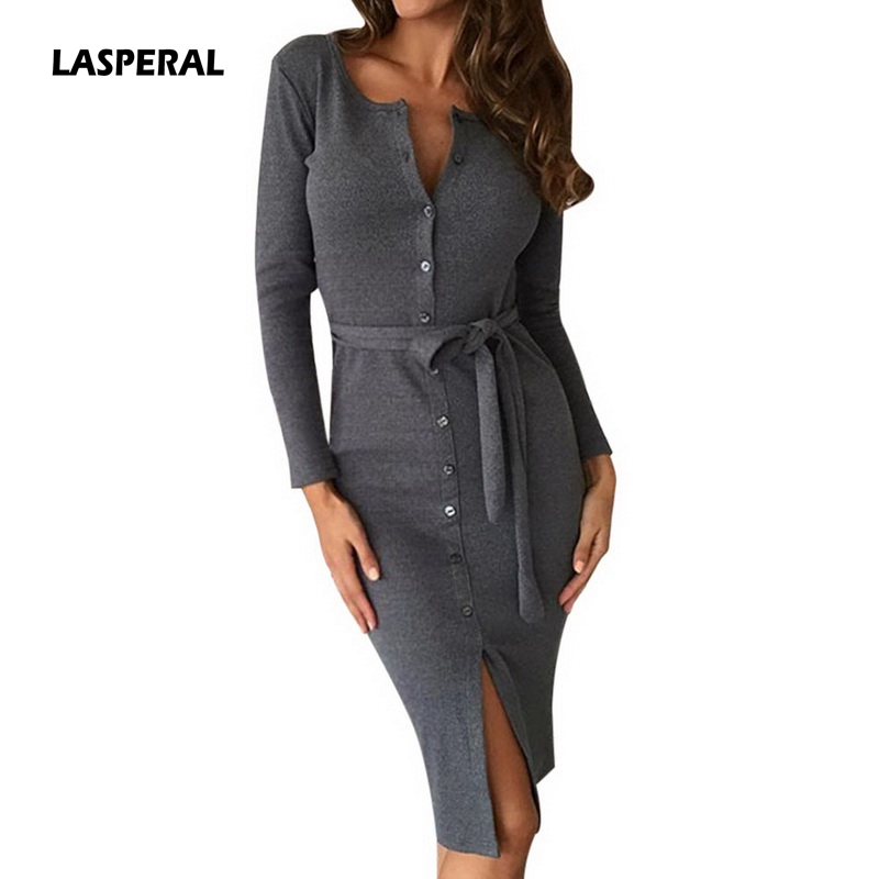 LASPERAL 2018 New Spring Sexy Long Knitted Dresses Women Bodycon Dress Plus Size V Neck Long-Sleeved Sweater Vestidos Robe Femme