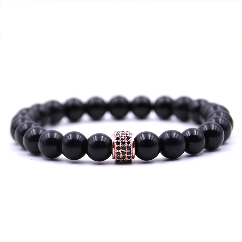 Kang hua 2019 Selling Bright black 8mm Natural stone Bracelet Glamour jewelry for Women Men Popular jewelry charm gift surprise in Strand Bracelets from Jewelry Accessories