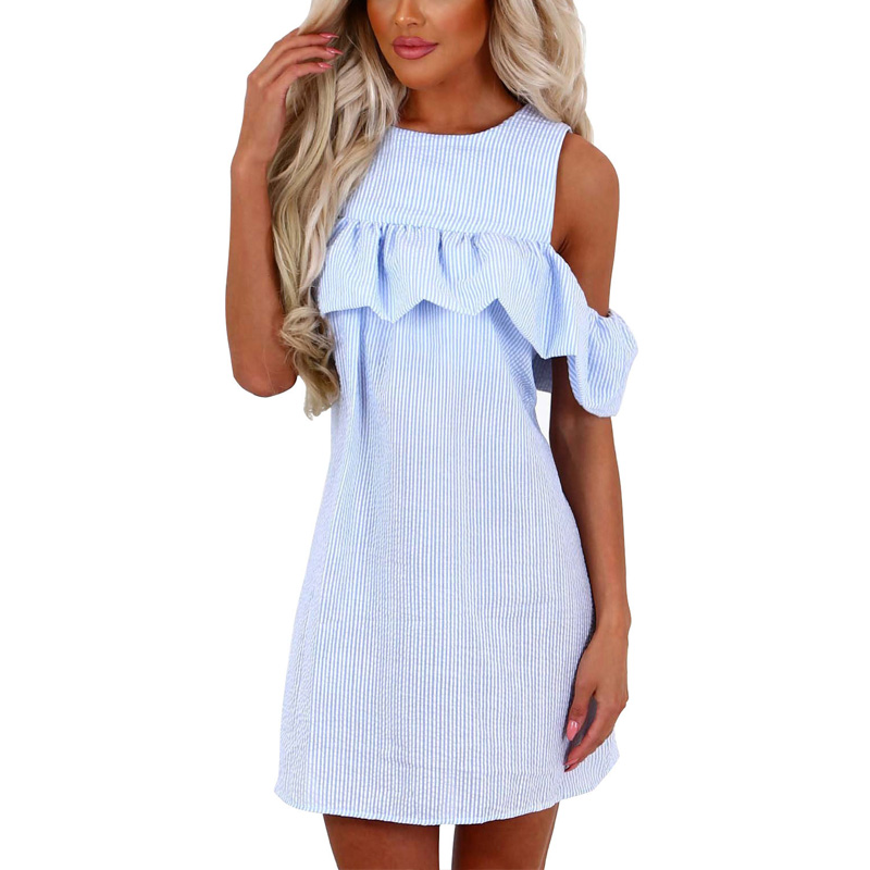 e4d63b099f5e5 Ruffle Women Dresses Sexy Off Shoulder Zipper Back Blue And White Striped  Cute Dress Casual Summer