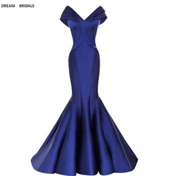 Off The Shoulder Mermaid Evening Dresses Long 2019 V-Neck Evening Gowns Vestido De Festa Prom Dress Sweep Train