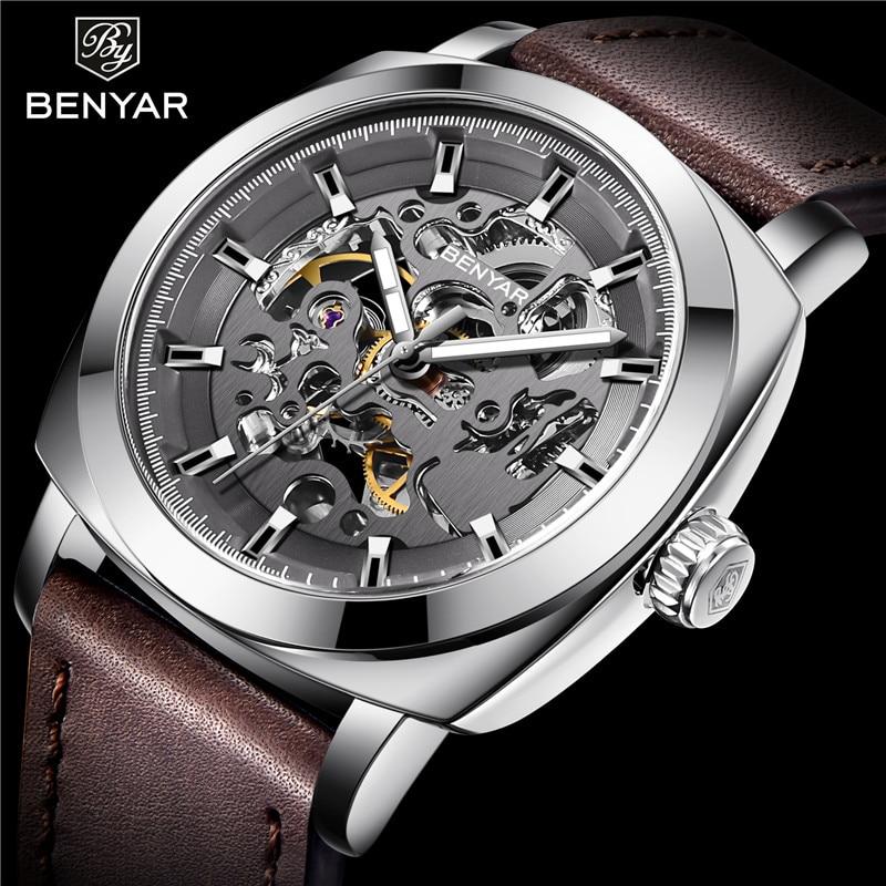 Benyar Men Watch Skeleton Automatic Mechanical Male Clock Top Brand Luxury Sport Military Man Wristwatch relogio