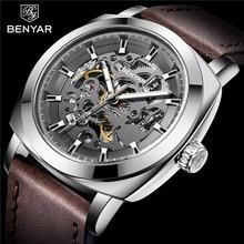 Benyar Mannen Horloge Skeleton Automatische Mechanische Mannelijke Klok Top Merk Luxe Sport Militaire Mens Horloge relogio Masculino 5121