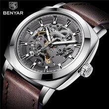 Benyar mężczyźni zegarek skeleton automatyczny mechaniczny dla mężczyzn zegar Top marka luksusowy Sport żołnierz zegarek relogio Masculino 5121
