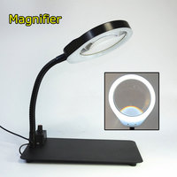 Crafts Glass Lens LED Desk Magnifier Lamp Light 8X 10X Magnifying Desktop reading Writing Loupe Repair Tools