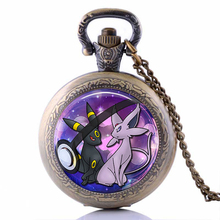 2016 New DIY Anime Jewelry Absol Pokemon Pokeball Pocket Watch Necklace Best Friends Pendant