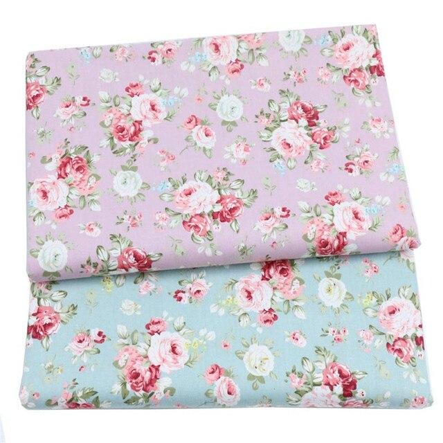 Syunss Màu Hồng Hoa Mẫu Đơn Màu Xanh Hoa In Vải Cotton Mô TỰ LÀM Chắp Vá Telas May Bé Đồ Chơi Bộ Đồ Giường Quilting Tecido Vải