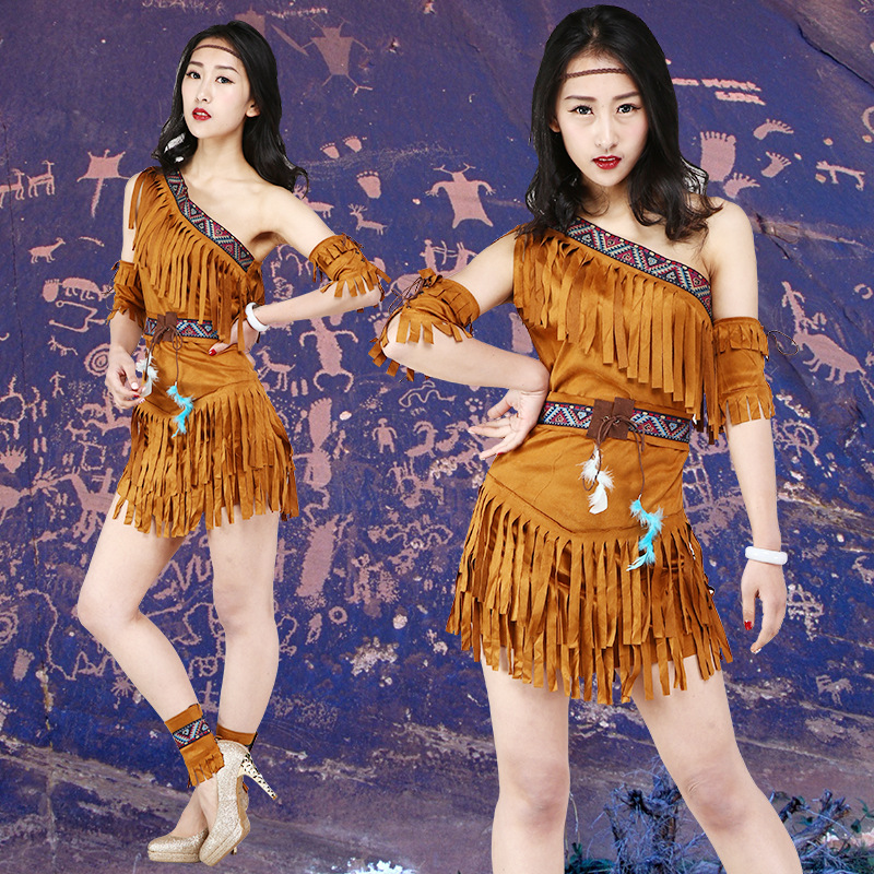 Sexy Women's Fringed Native Indians Princess of Savage Forests Hunter Costume Halloween Carnival Masquerade Cosplay Costume