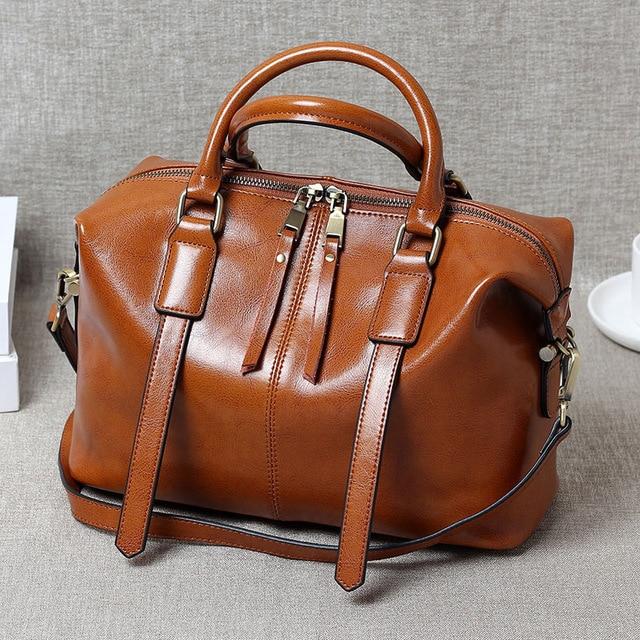 Retro Portable Oil Wax Leather Handbags Boston Bag Tide Ms Shoulder Messenger