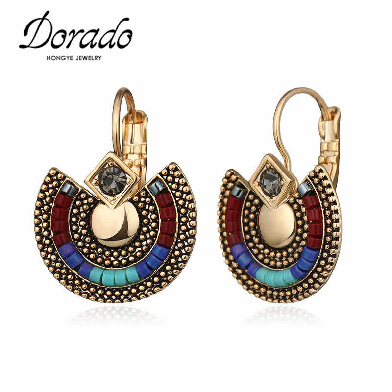 Resin Beads Drop Earrings For Women Gold Silver Color Copper Ethnic Female Dangle Hanging Earring Fashion Ear Jewelry Brincos