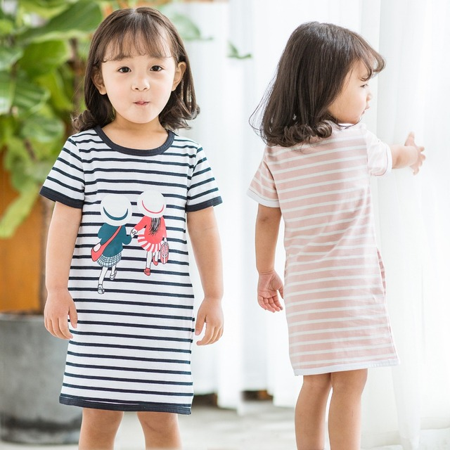 3663ab5095305 US $7.45 45% OFF 2019 New Baby Girls Summer Striped Dress Children Cartoon  Printed Princess Dresses Kids Cotton Pastoral Style Clothing 1 9 Years-in  ...