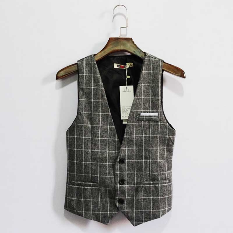 Vintage England Slim Suit Vest Men Casual Business Professional Vest Korean Waistcoat Plaid Vest Man Clothing Plus Size 7XL