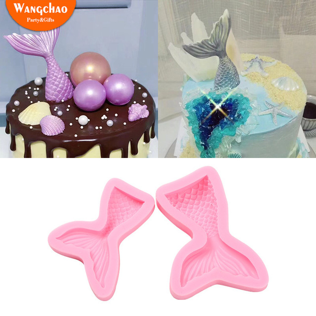 Mermaid Tail Cake Mold Happy Birthday Decoration Baby Boy Shower Decorations Sweet 16 Party 2 Size Available