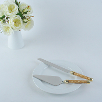 Wedding Cake Cutlery Set, Luxury Gold Foil Paper Decorated Handle, 1pc 8 Long Cake Knife & 1pc Cake Server, Gift Box Packing