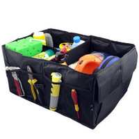 MOTERCROSS Black Oxford Car Trunk Storage Bag Cargo Organizer Collapsible Bag Storage Black Folding In The