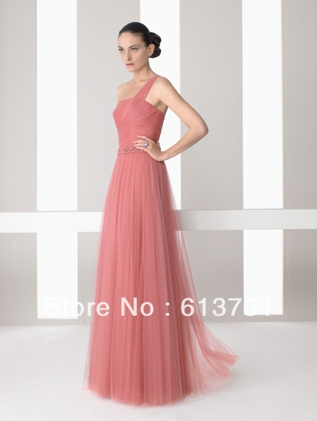 custom made simple one shoulder coral tulle floor length wedding guest dresses bridesmaid dresses b01120
