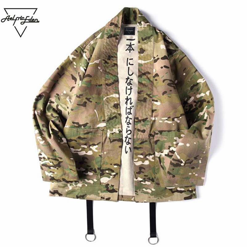 Aelfric Eden Japanese Style Camouflage Men Jackets Open Stitch Kimono Jacket Cotton Hip Hop Streetwear Male Fashion Outwear YB04