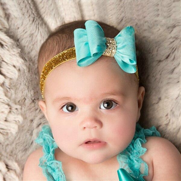 New Fashion Children's Tiara Cute Bow Gold Powder Bowknot Baby Kids Headband Hair Band Children Headdress Acessorio De Cabelo T