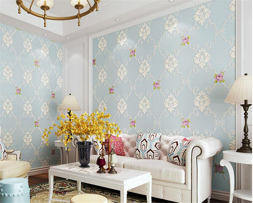 beibehang papel de parede 3d wallpaper Classic pastoral bedroom background wall paper 3D stereo relief fine pressed nonwovens beibehang pastoral nonwovens fashion