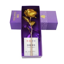 Drop Shipping Valentine's Day Gift With Gold Roses With Pedestal 24K Gold Plated