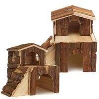 1 ADET Minyatürleri Küçük Ahşap Ev Iki Katlı Kabin Ahşap Villa Hut Süsler Için Hayvan Hamster Kobay Sıçan Oyuncak 3 boyutu