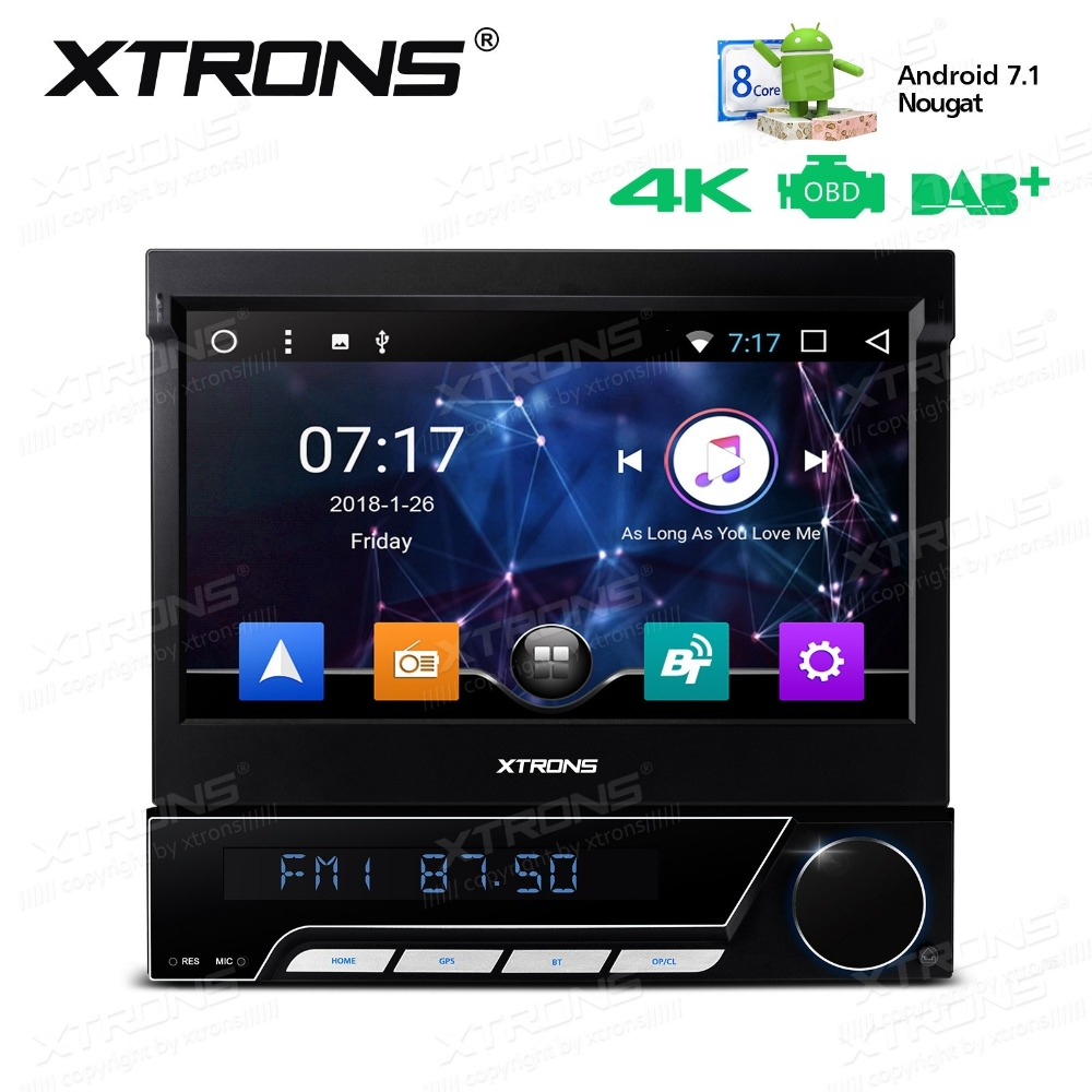 Android 7.1 Nougat 7 OS One Din Car DVD Multimedia 1 Din Car Navigation GPS Single Din Car Radio with Detachable Panel Design image