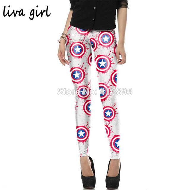 New super hero capitán americano impreso leggings lápiz flacos legging mujer pantalones 4180116