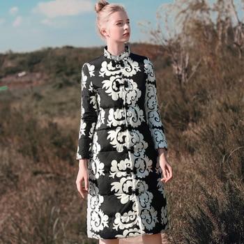 Traditional Women Embroidery Flower Warm Down Jacket National Style Slim Thin Thicken Outwear Vintage Female Windbreaker M-XXL