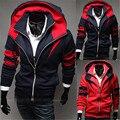 Мужчины Кофты Тощий Fit Homme Случайный Пальто Столкновения Цвет Косой Сращивание Мода 2016 Новый С Капюшоном Простой Тонкий Мужские Пуловеры