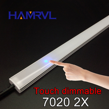 2pcs dimmable under cabinet strip lighting7020 7030 9W 50cm touch switch control Kitchen led b DC12V rigid Strip