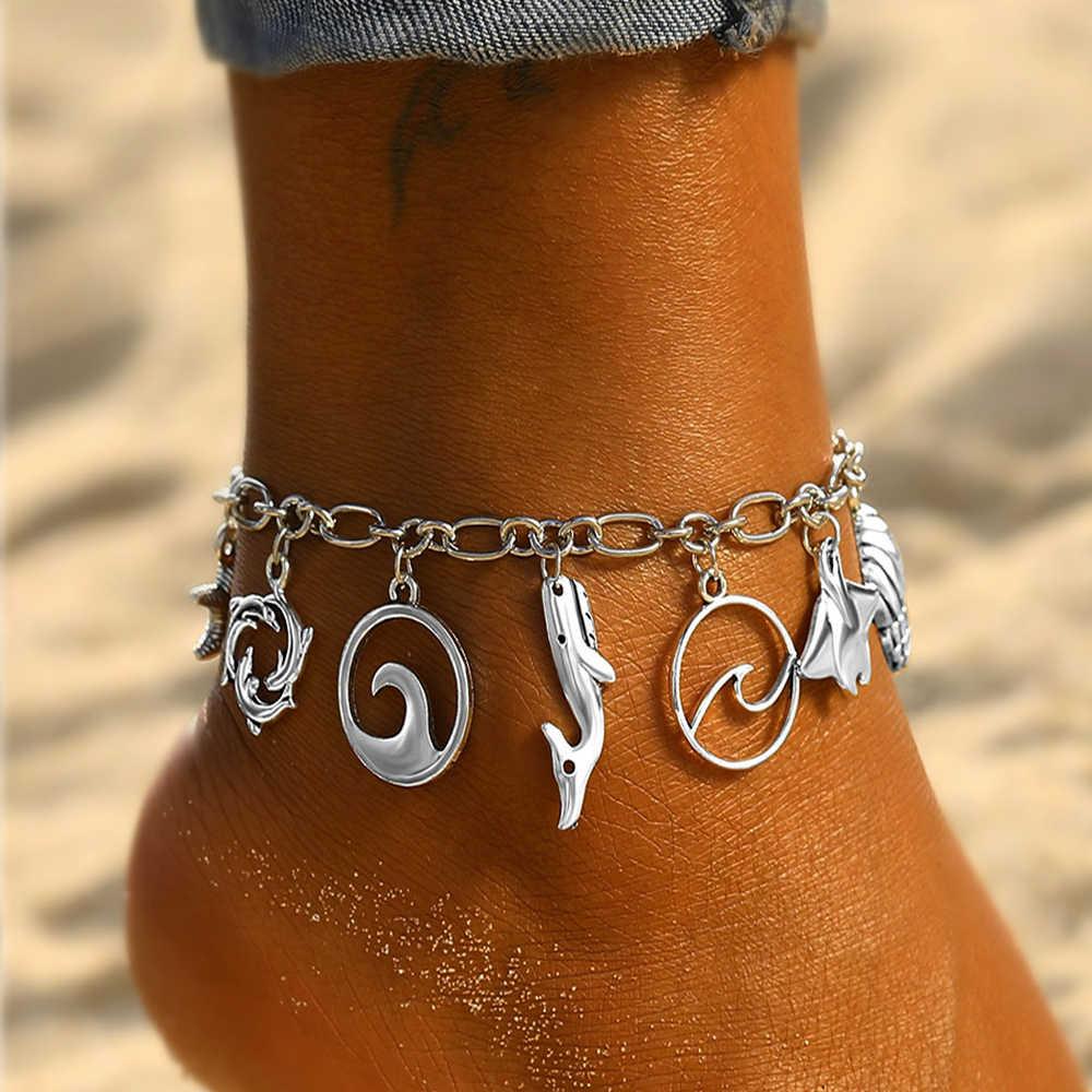 Iparam Bohemian Vintage Shell Penyu Gelang untuk Wanita Multi-Lapisan Pantai Musim Panas Gelang Perhiasan Gelang Kaki Perhiasan