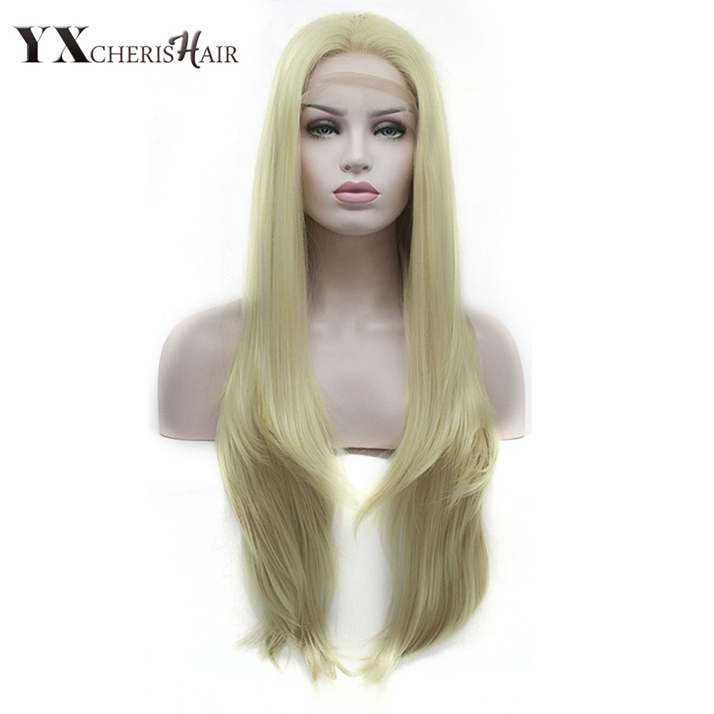 Regular Wavy Wig Honey Ash Blonde Synthetic Lace Front Wig For Women Heat Resistant Fiber Lace Wig Cosplay YXCHERISHAIR ...