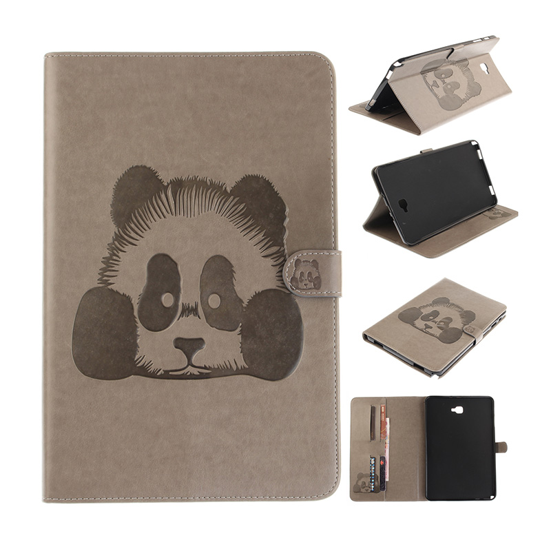 Kefo For Samsung Galaxy Tab A A6 10.1 2016 T585 T580 SM-T585 A6 10.1 2017 T580N P580 P585 panda Embossed PU Leather Wallet case tempered glass for samsung galaxy tab a 10 1 2016 screen protector for galaxy tab a 10 1 sm t580 sm t585 or sm p580 sm p585