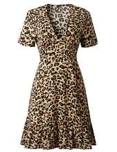 Short Sleeve High Neck Leopard Print Sexy Dresses 2019 Vestidos Autumn Winter Women Fahsion Waist Christmas Party