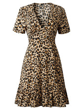 Vestidos Women Dress Autumn Ladies Leopard Print Dresses Sexy V Neck Short Sleeve Womens Fall Evening Party