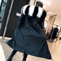 Реальный Лисий Мех Лайнер парки Пальто Женщины молнии с капюшоном X длинные зимние меховые Куртки верхняя одежда с натуральным енотовидная