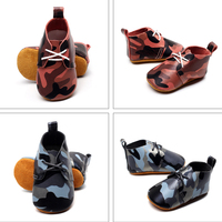 Baby Shoes Army Camouflage Printed PU Leather Soft Soled Shoes Cool Baby Boy First Walker