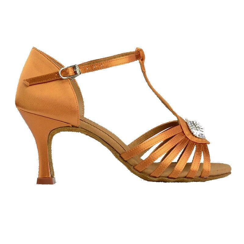 BD chaussures de danse latine 2338 dames sport Satin sandale femmes chaussures de danse de salon talon haut Tan foncé Salsa chaussure