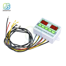 цена на ST3012 AC 220V 12V 24V Digital LED Dual Thermometer Temperature Controller Thermostat Incubator Control Dual NTC Sensor Probe