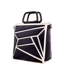 Classic Black White Contrast Color font b Handbag b font Fashion PU Shoulder Bag Women Designer