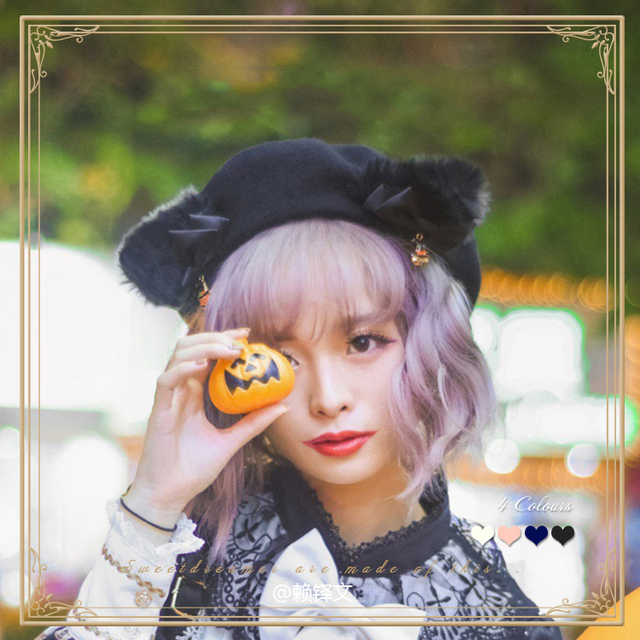 Black Cat Lolita Girls Cat Ears Bows Trim Drawers Beret Hat Halloween Kawaii Cute Woolen Painter Beret Cap 4 Colors