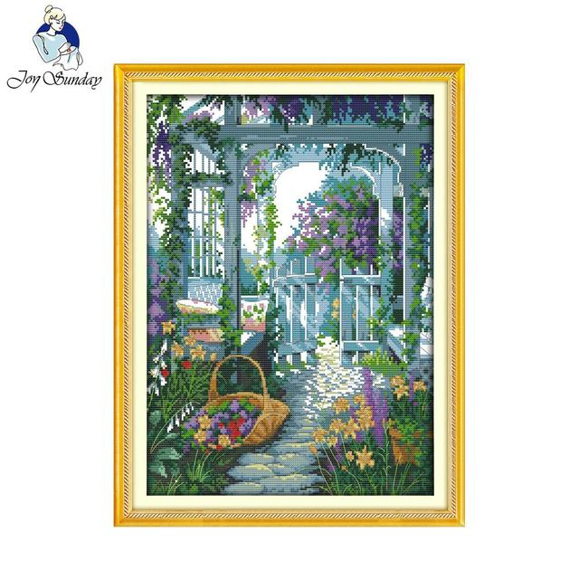 Joy Sunday Scenic Style The Garden Gate Hand Make Cross Sch Pattern Kits Embroidery Painting For