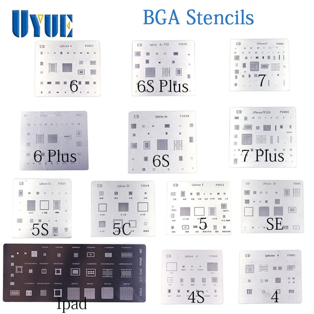все цены на 13pcs/lot high quality BGA Reballing Stencil dedicate kit for iPhone 4 4s 5 5s 5c 6 6 Plus 6S 6s Plus 7 7 Plus SE iPad  BGA онлайн