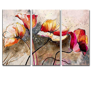 Hand Painted Abstract Art Three Pieces Louts Flower Canvas Oil Painting Louts Wall Picture Living Room Bedroom Home Wall Decoar