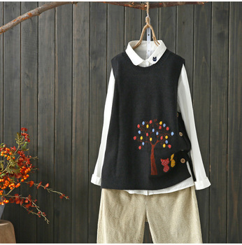 cats under tree kitty  pattern  sleeveless vest pullover sweater  2019 mori girl 4